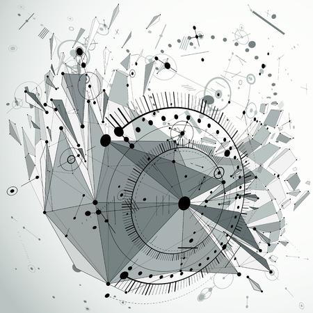 Schema meccanico dimensionale, disegno di ingegneria vettoriale futuristico in bianco e nero creato con cerchi e linee collegate. Priorità bassa cibernetica di tecnologia 3d fatta usando l'oggetto basso poli con le schegge.