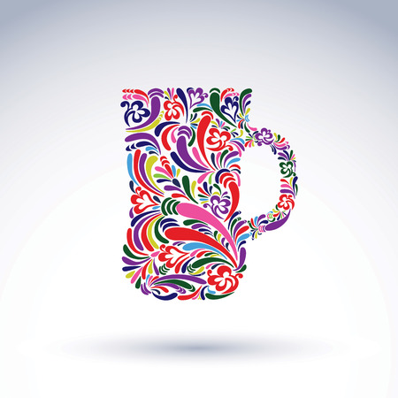 Creative beer mug decorated with vector floral pattern. Alcohol and relaxation glass symbol, for use in graphic design and advertising.