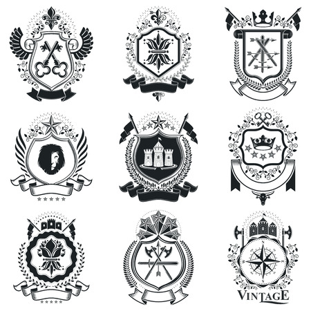 arsenal: Heraldic signs vector vintage elements. Collection of symbols in vintage style.