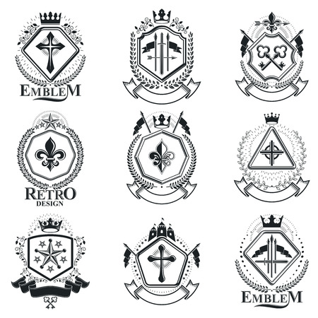 armory: Vintage decorative emblems compositions, heraldic vectors. Classy high quality symbolic illustrations collection, vector set.
