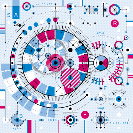 dashed: Technical drawing with dashed lines and geometric shapes, vector futuristic technology wallpaper, engineering draft.
