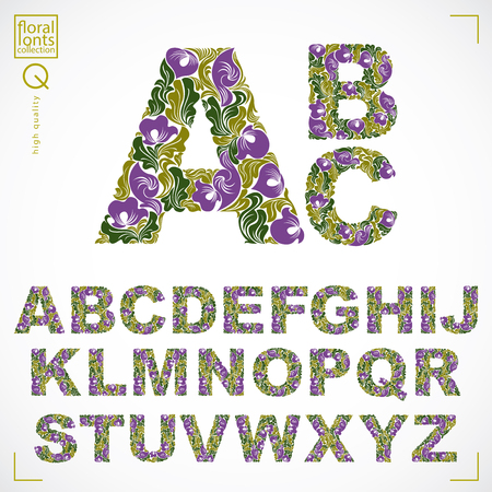 typescript: Set of beautiful capital letters decorated with herbal ornament. Vector typescript made in floral style.