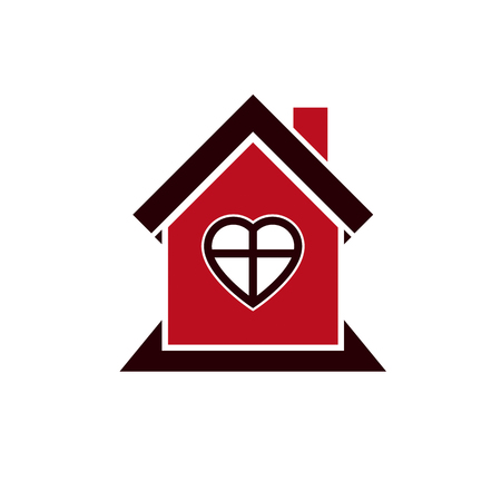 Family house abstract icon, harmony at home concept. Simple building, real estate business, architecture theme vector symbol.