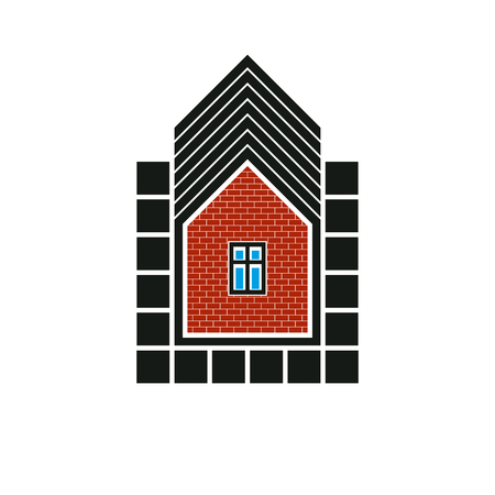 estate planning: Real estate stylized business icon, vector abstract house constructed with red bricks. Graphic design element, conceptual home sign.
