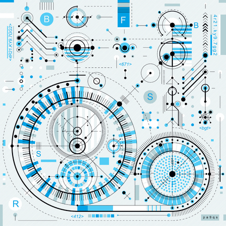 mechanical parts: Technical plan, engineering draft. Vector drawing of industrial system with mechanical parts, for use in graphic and web design.