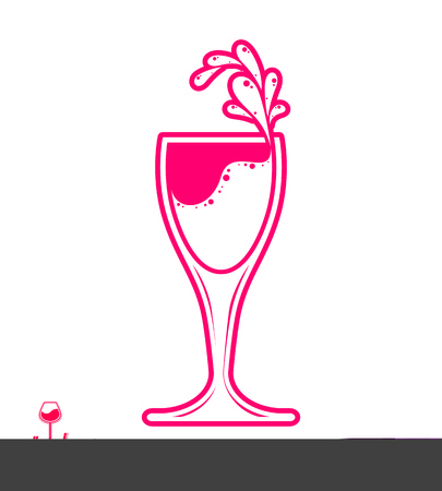 rendezvous: Vector goblet – alcohol drink theme illustration. Elegant wineglass with splatter isolated on white, winery emblem, eps8 holiday design element.