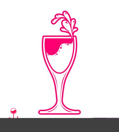 revelry: Vector goblet � alcohol drink theme illustration. Elegant wineglass with splatter isolated on white, winery emblem, eps8 holiday design element. Illustration