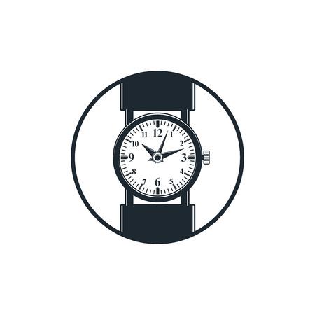 interim: Simple wristwatch graphic illustration, classic hour hand symbol. Time management idea design element. Illustration