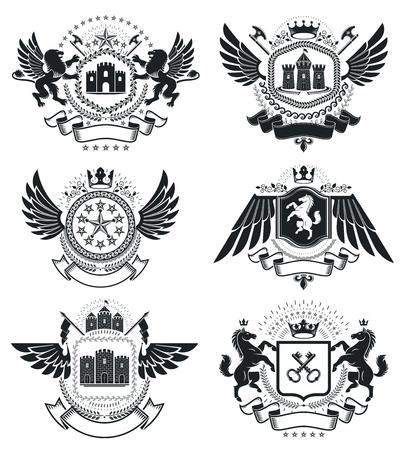 insignia: Escudo heráldico de armas, emblemas vector vendimia. alta calidad de la captación ilustraciones simbólicas clase, conjunto de vectores. Vectores