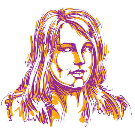 Vector portrait of attractive woman, illustration of good-looking curious female. Person emotional face expression.