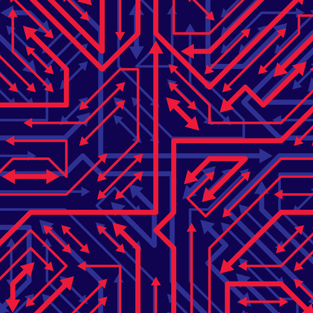 Vector digital technology background with sparkling circuit board elements and arrows, neon computer scheme texture. Device component, microprocessor abstract shine illustration.