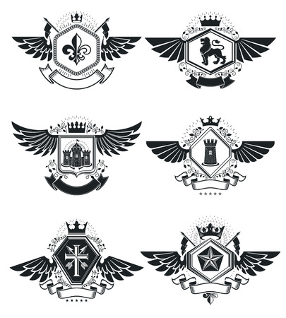 fortress: Heraldic Coat of Arms decorative emblems isolated vector illustrations. Vintage design elements collection. Illustration