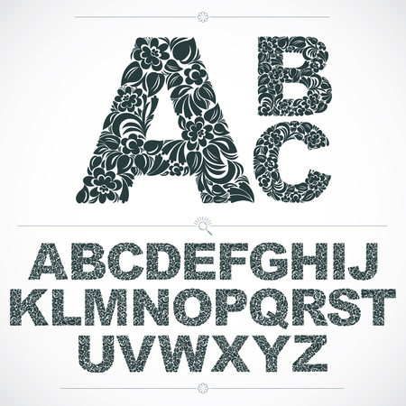 typescript: Floral font, hand-drawn vector capital alphabet letters decorated with botanical pattern. Black and white ornamental typescript, vintage design lettering. Illustration
