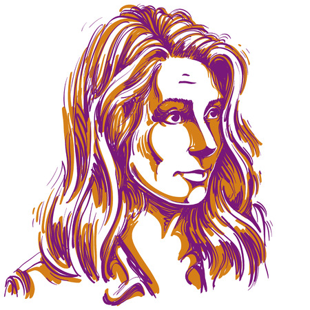 Portrait of delicate doubting woman with wrinkles on her forehead, colorful vector drawing. Emotional expressions idea image. Illustration