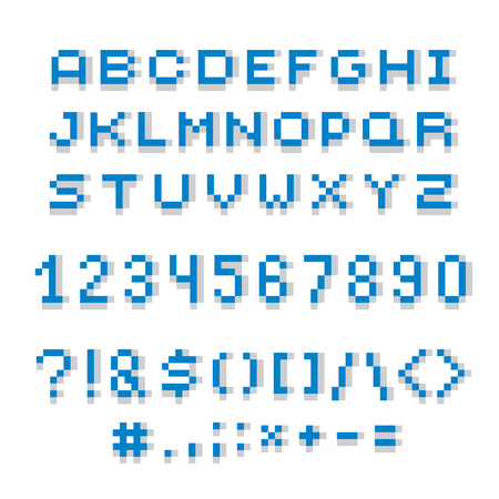 typescript: Cybernetic 3d numbers, letters and punctuation marks, pixel art vector numeration. Pixel design elements, contemporary digital typescript made in technology style. Illustration
