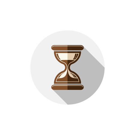 interim: Time conceptual stylized icon. Old-fashioned hourglass isolated on white, stylish clock pictogram. Illustration