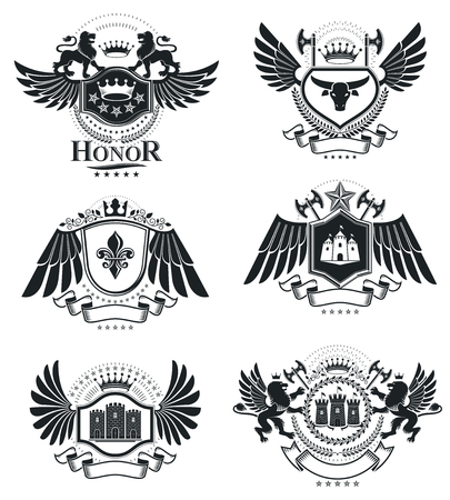 hatchet: Heraldic Coat of Arms decorative emblems isolated vector illustrations. Vintage design elements collection. Illustration