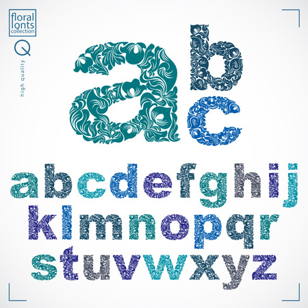 Set of vector ornate lowercase letters, flower-patterned typescript. Colorful characters created using herbal texture.