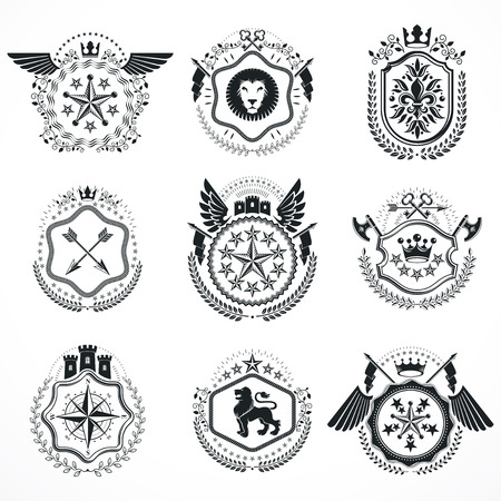 armory: Vintage emblems, vector heraldic designs. Coat of Arms collection, vector set. Illustration