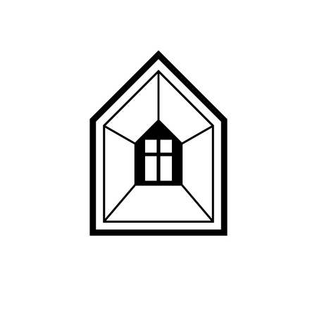 estate planning: Property developer conceptual business vector icon, real estate emblem.  Building modeling and engineering projects abstract symbol. Simple house depiction.