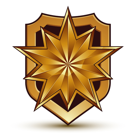 3d heraldic vector template with polygonal golden star, dimensional royal geometric medallion isolated on white background.