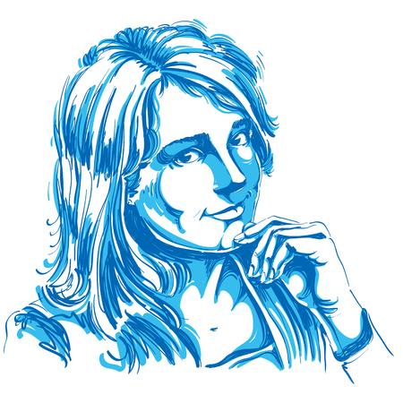 hot temper: ilustración vectorial dibujado a mano de la hermosa mujer amante romántico. Imagen artística, expresiones en la cara de la señora joven, rasgos delicados.