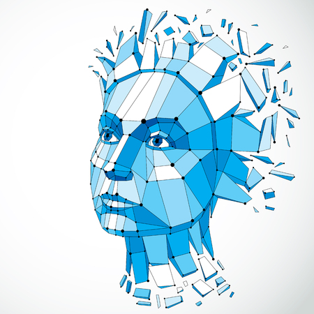 Face of a thinking woman created in low poly style and with connected lines, 3d vector blue wireframe human head, brain exploding which symbolizes intelligence and imagination. Illustration