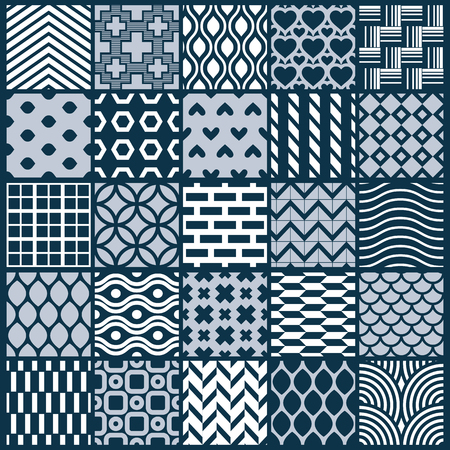 interlace: Graphic ornamental tiles collection, set of monochrome vector repeated patterns. Vintage art abstract textures can be used as wallpapers. Illustration