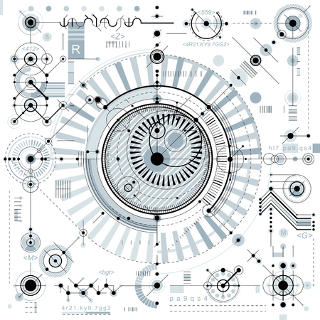 dashed: Mechanical scheme, vector engineering drawing with geometric parts of mechanism. Futuristic industrial project can be used in web design and as wallpaper.