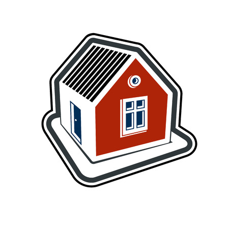 estate planning: Simple village mansion icon, abstract house depiction. Country house, conceptual sign best for use in graphic and web design.