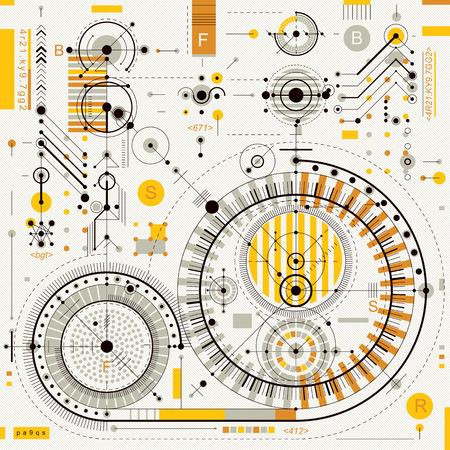 dibujo tecnico: Dibujo técnico con líneas de trazos y formas geométricas, papel tapiz de vectores tecnología futurista, proyecto de ingeniería.