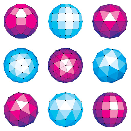 netting: 3d vector digital wireframe spherical objects made using different geometric facets. Polygonal orbs created with lines mesh. Low poly shapes collection, lattice forms for use in web design.