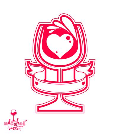 revelry: Vector goblet – alcohol drink theme illustration. Elegant wineglass with decorative pattern, winery emblem, eps8 holiday design element. Illustration