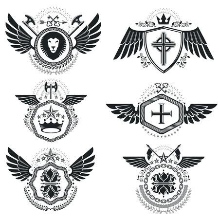 Jahrgang Heraldik Design-Vorlagen, Vektor-Embleme Mit Vogelflügeln ...