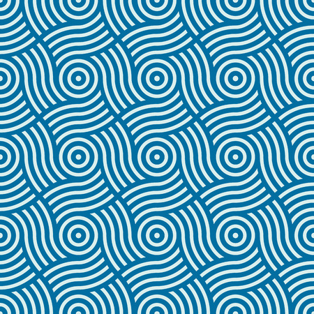 interlace: Vector geometric seamless pattern, abstract endless composition created with overlay curls and circles. Blue background with intertwine curves.