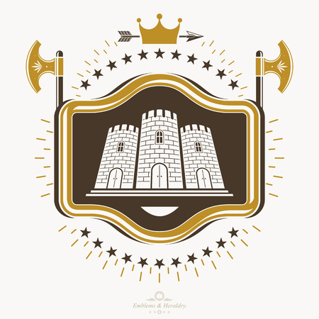 armory: Heraldic signs vector vintage elements. Illustration