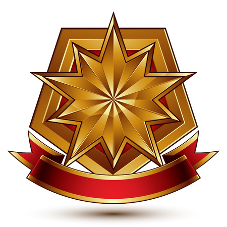 Vector glorious glossy design element, luxury 3d polygonal golden star placed on a decorative blazon, conceptual graphic coat of arms with wavy red ribbon, clear EPS 8.
