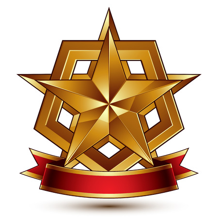 3d golden heraldic blazon with glossy pentagonal star, best for web and graphic design, clear EPS 8 vector. Decorative coat of arms with red wavy ribbon, defense symbol. Illustration