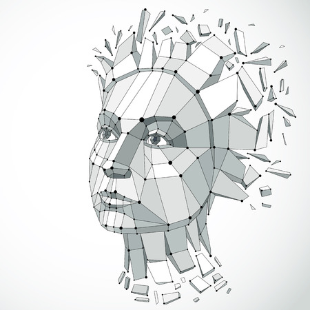 mindful: Vector dimensional low poly female portrait with lines mesh, graphic illustration of human head broken into fragments. 3d demolished wireframe object created with fractures and different particles.