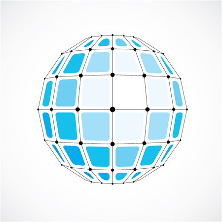 Abstract vector low poly object with black lines and dots connected. Blue 3d futuristic globe with overlapping lines mesh and squares.