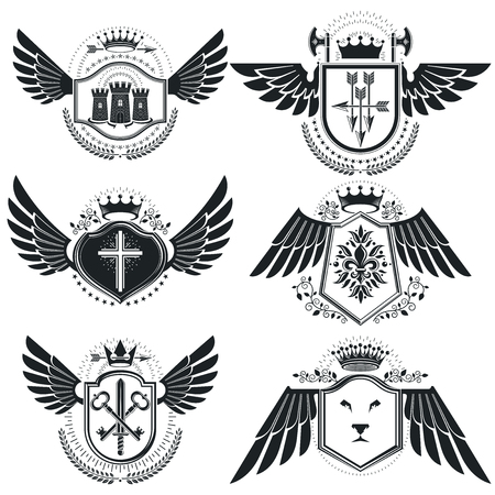 christian cross and wings: Vintage emblems, vector heraldic designs. Coat of Arms collection, vector set. Illustration