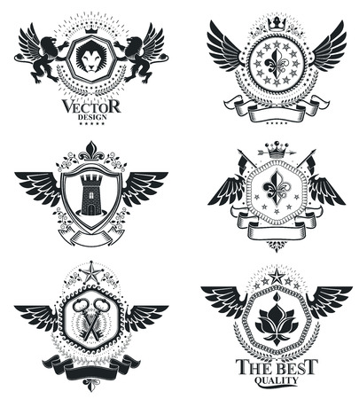 eagle shield and laurel wreath: Vintage decorative emblems compositions, heraldic vectors. Classy high quality symbolic illustrations collection, vector set.