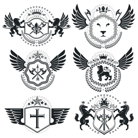 armory: Heraldic designs, vector vintage emblems. Coat of Arms collection, vector set.