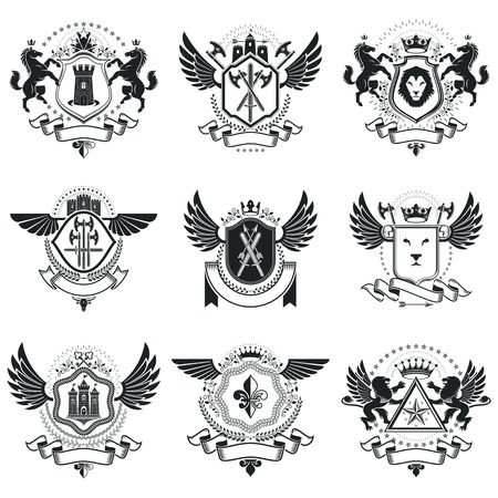 armory: Vintage award designs, vintage heraldic Coat of Arms. Vector emblems. Vintage design elements collection. Illustration