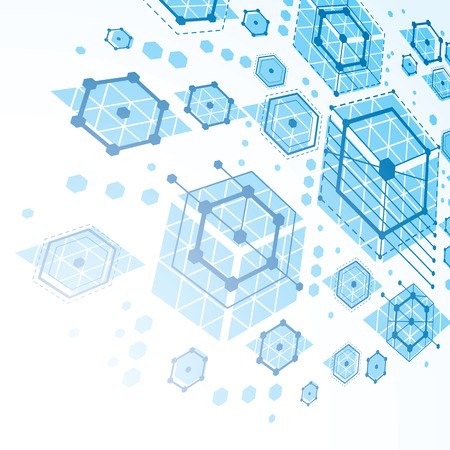 Modular Bauhaus 3d vector blue background, created from simple geometric figures like hexagons and lines. Best for use as advertising poster or banner design.