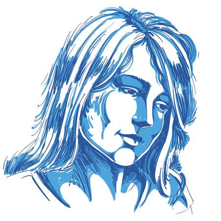 Hand-drawn portrait of white-skin sorrowful woman, sad face emotions theme illustration. Beautiful melancholic lady posing on white background.