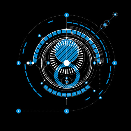 mechanical parts: Technical plan, abstract engineering draft for use in graphic and web design. Blue vector drawing of industrial system created with mechanical parts and circles.