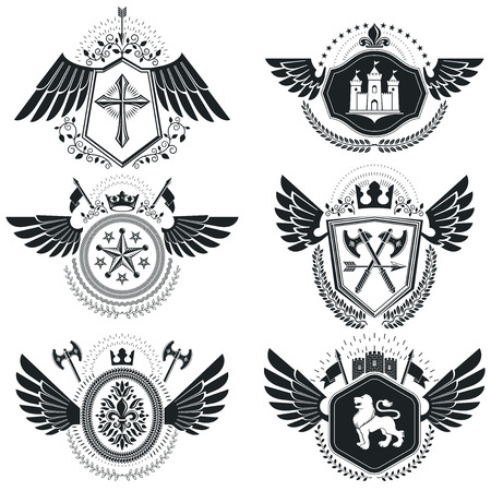christian cross and wings: Heraldic signs vector vintage elements. Collection of symbols in vintage style.