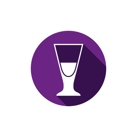 Alcohol beverage theme icon, cocktail glass placed in circle. Colorful restaurants and cafes brand emblem.