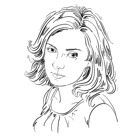Graphic vector hand-drawn illustration of white skin attractive melancholic lady with stylish haircut. People face expressions. Sad and dreamy girl.